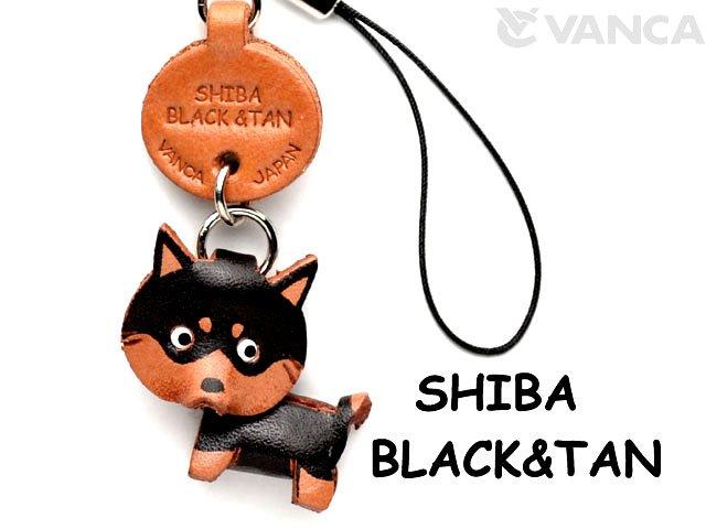 VANCA本革犬携帯ストラップ 柴犬ブラックタン