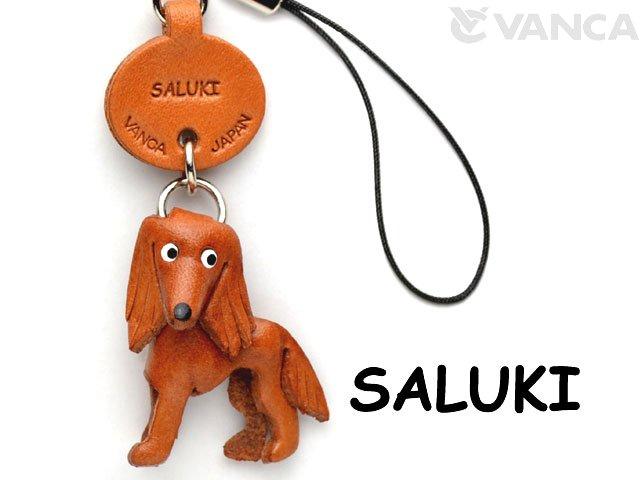 VANCA本革犬携帯ストラップ サルーキ