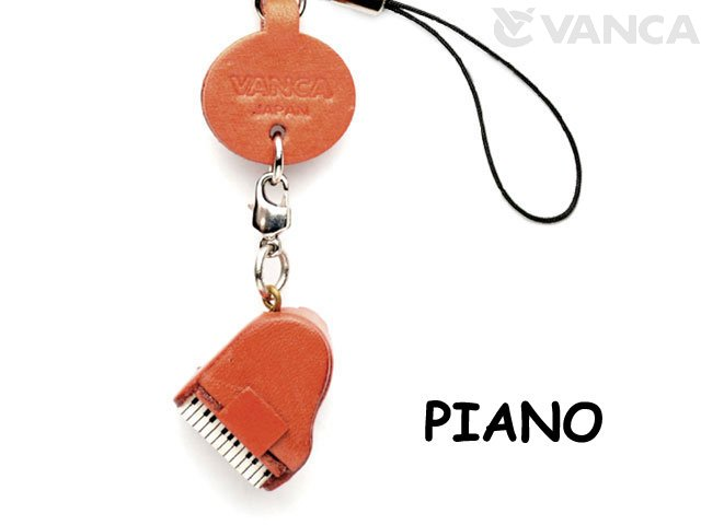 VANCA本革レザーグッズ携帯ストラップ ピアノ