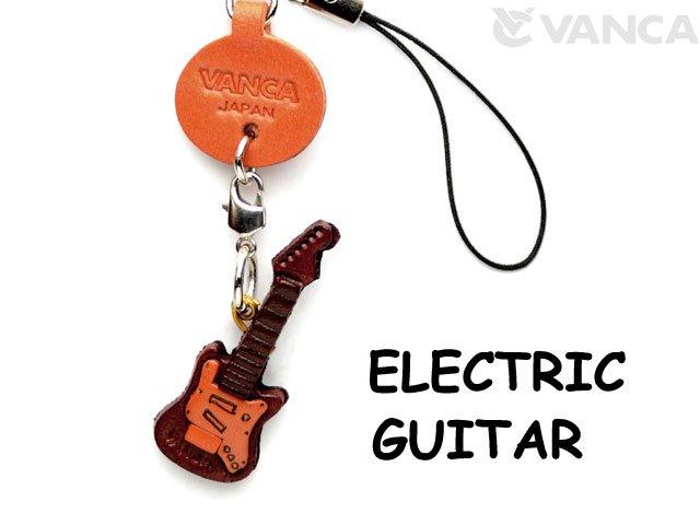 VANCA本革レザーグッズ携帯ストラップ エレキギター