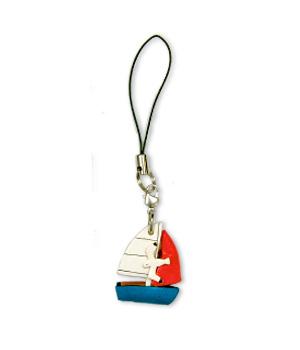本革カラー携帯ストラップ ヨット