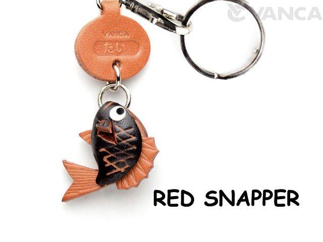 VANCA本革レザー魚キーホルダー たい