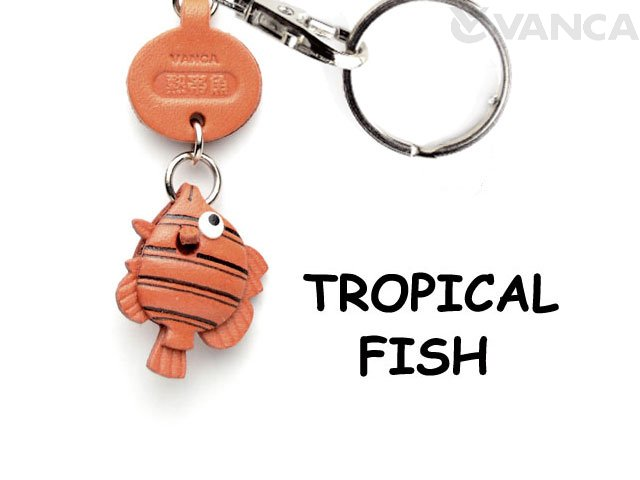 VANCA本革レザー魚キーホルダー 熱帯魚