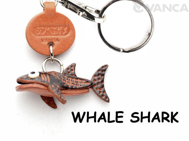 VANCA本革レザー魚キーホルダー ジンベイザメ