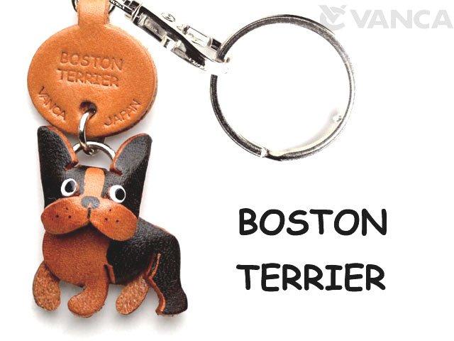 VANCA本革レザー犬キーホルダー ボストンテリア
