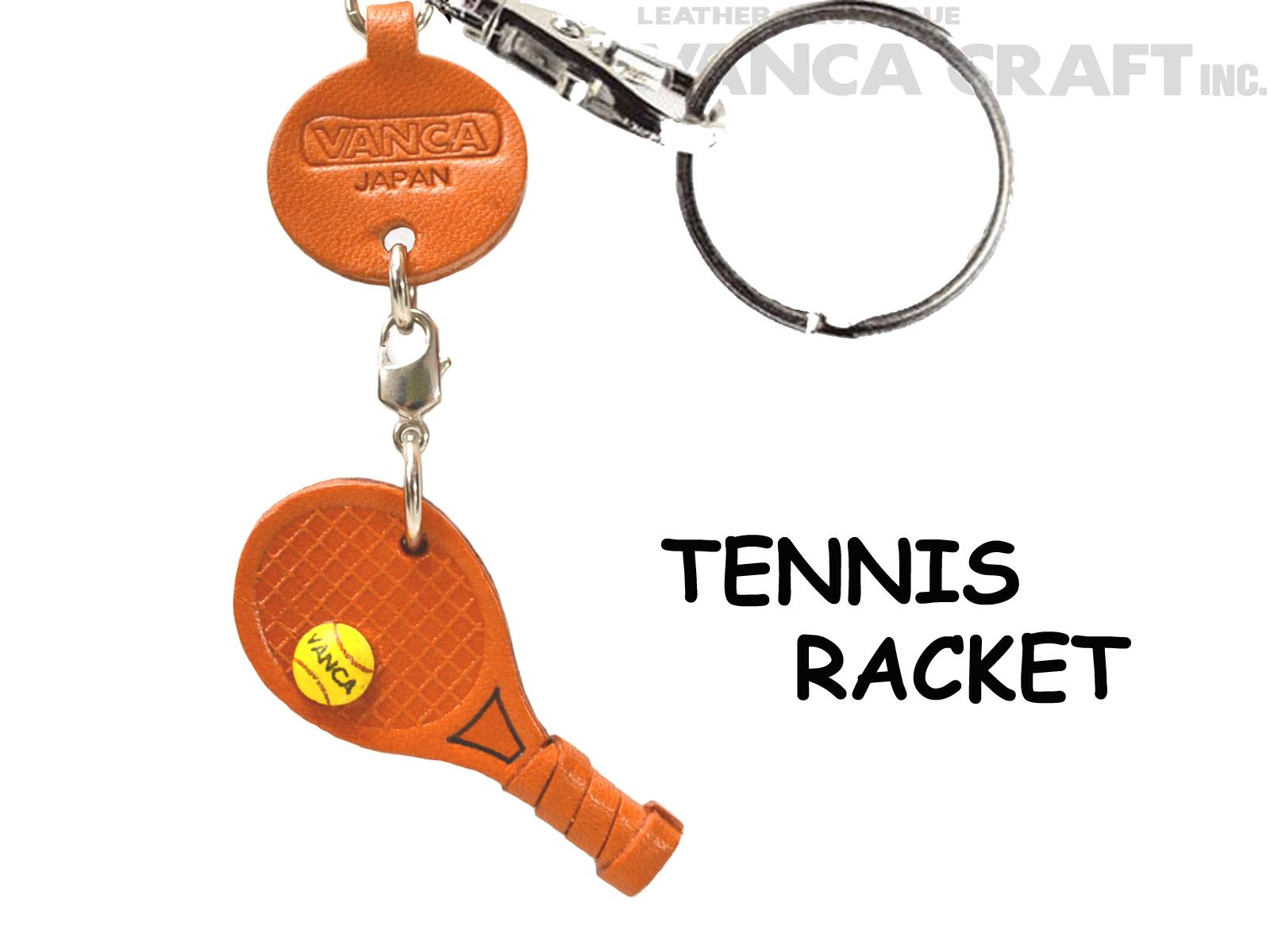 VANCA本革レザーグッズキーホルダー テニスラケット