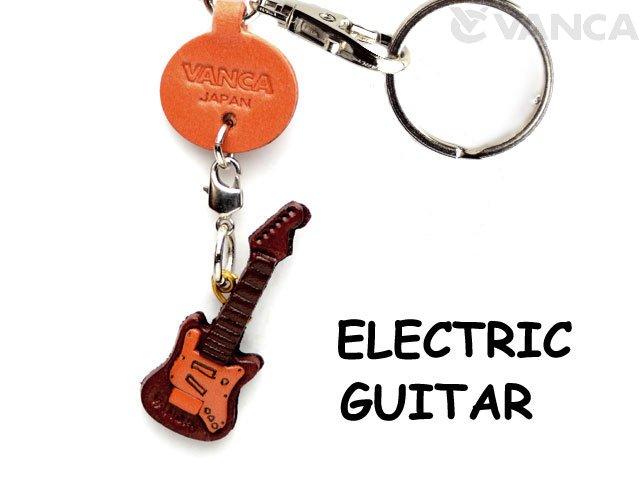 VANCA本革レザーグッズキーホルダー エレキギター