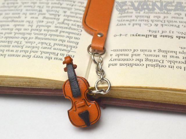 ヴァイオリン VANCA 本革チャームブックマーカー
