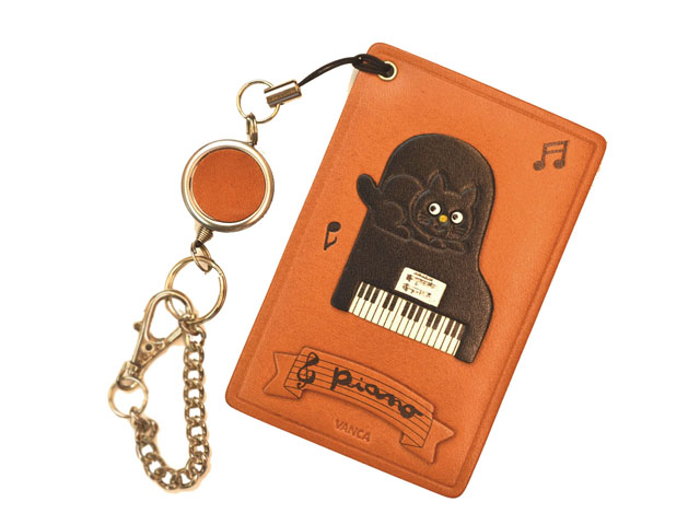 VANCA 本革パスカードホルダー ピアノ黒ねこ