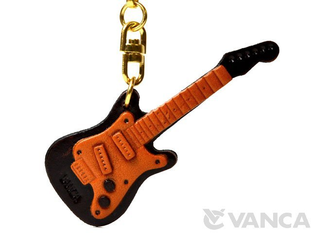 エレキギター 本革 レザーキーホルダー