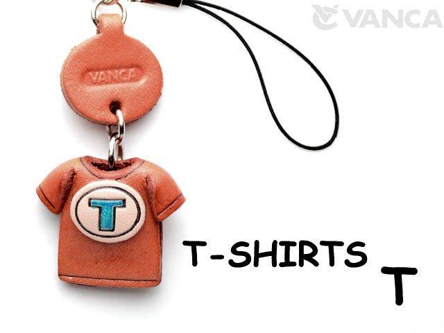 本革レザーTシャツ携帯ストラップ青 T