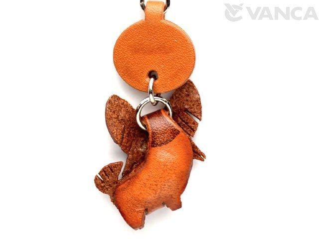 VANCA本革犬携帯ストラップ パピヨン