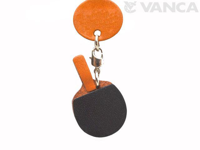 VANCA本革レザーグッズキーホルダー 卓球ラケット
