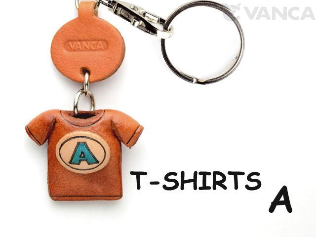 VANCA本革レザーTシャツ青キーホルダー A