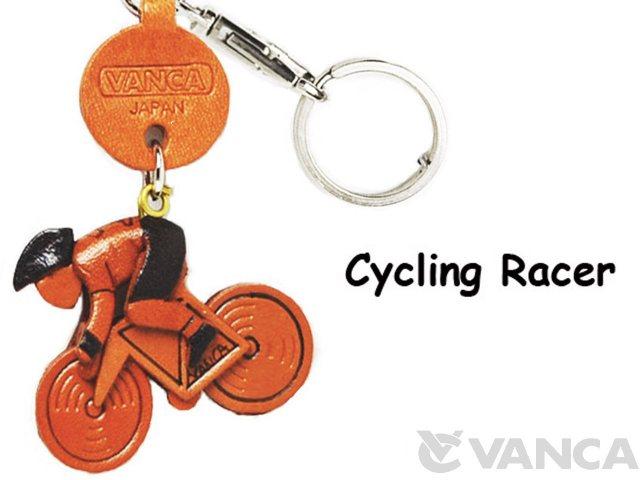 VANCA本革レザーグッズキーホルダー 自転車レーサー