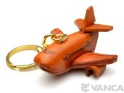 VANCA 本革キーホルダー ジェット旅客機