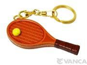 テニスラケット VANCA本革 レザーキーホルダー