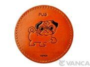 本革製 VANCA コースター 犬 パグ