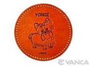 本革製 VANCA コースター 犬 ヨーキー