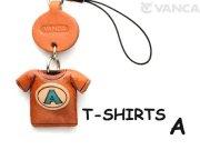 本革レザーTシャツ携帯ストラップ青 A