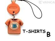 本革レザーTシャツ携帯ストラップ青 B