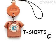 本革レザーTシャツ携帯ストラップ青 C