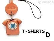 本革レザーTシャツ携帯ストラップ青 D