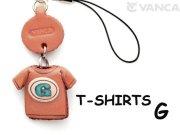 本革レザーTシャツ携帯ストラップ青 G