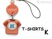 本革レザーTシャツ携帯ストラップ青 K