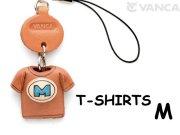 本革レザーTシャツ携帯ストラップ青 M