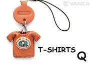 本革レザーTシャツ携帯ストラップ青 Q