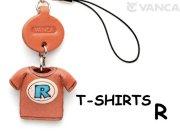 本革レザーTシャツ携帯ストラップ青 R