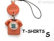 本革レザーTシャツ携帯ストラップ青 S