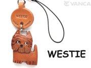 VANCA本革犬携帯ストラップ ウエスティー