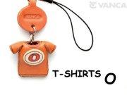 本革レザーTシャツ携帯ストラップ赤 O