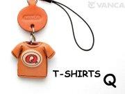 本革レザーTシャツ携帯ストラップ赤 Q