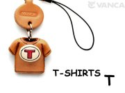 本革レザーTシャツ携帯ストラップ赤 T