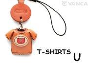 本革レザーTシャツ携帯ストラップ赤 U