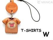 本革レザーTシャツ携帯ストラップ赤 W