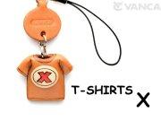 本革レザーTシャツ携帯ストラップ赤 X