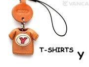 本革レザーTシャツ携帯ストラップ赤 Y