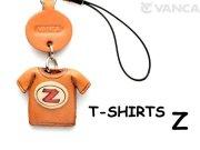 本革レザーTシャツ携帯ストラップ赤 Z