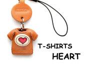 本革レザーTシャツ携帯ストラップ赤 HEART