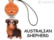 VANCA本革犬携帯ストラップ オーストラリアンシェパード