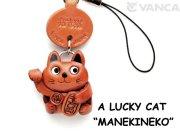 VANCA本革レザーグッズ携帯ストラップ 招き猫