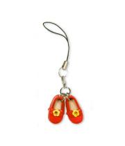 本革カラー携帯ストラップ リボン付き赤い靴