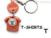 VANCA本革レザーTシャツ青キーホルダー T