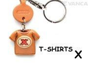 VANCA本革レザーTシャツ赤キーホルダー X