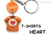 VANCA本革レザーTシャツ赤キーホルダー HEART