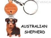 VANCA本革レザー犬キーホルダー オーストラリアンシェパード